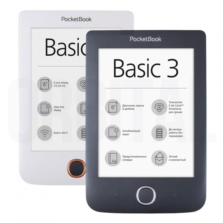 Электронная книга (ридер) PocketBook 614 Plus Basic 3 (черная, белая)